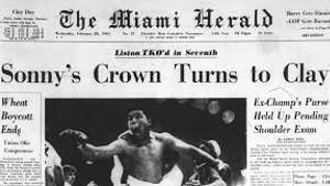 Detalle de la portada del Miami Herald que recogía la victoria de Cassius Clay sobre Sonny Liston, en 1964.