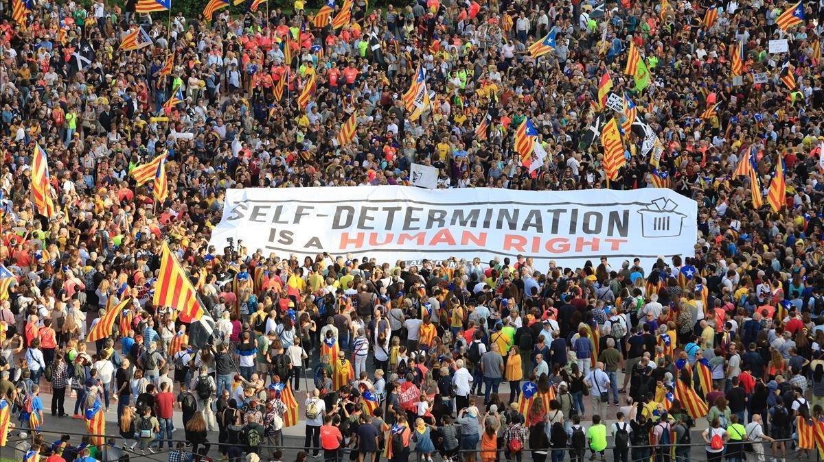 Manifestación con urnas el pasado 1 de octubre.