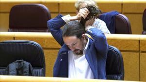 Sesion de control al Gobierno en el Senado , en la imagen el vicepresidente Segundo Pablo Iglesias.