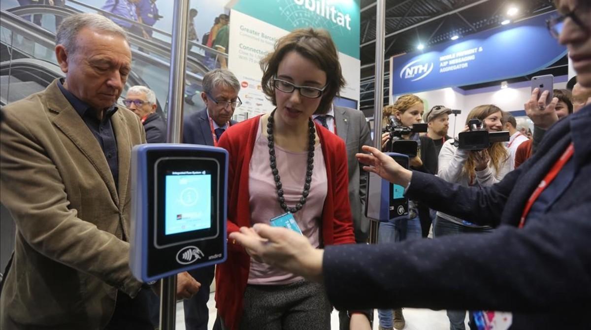 Mercedes Vidal, en la presentación de la T-Mobilitat en el pasado Mobile World Congress.