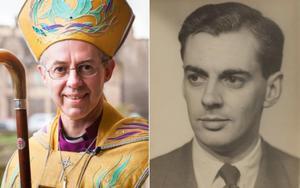 A la izquierda, el arzobispo de Canterbury; a la derecha, su padre biológico,Sir Anthony Montague Browne, que fuera secretario de Churchill.