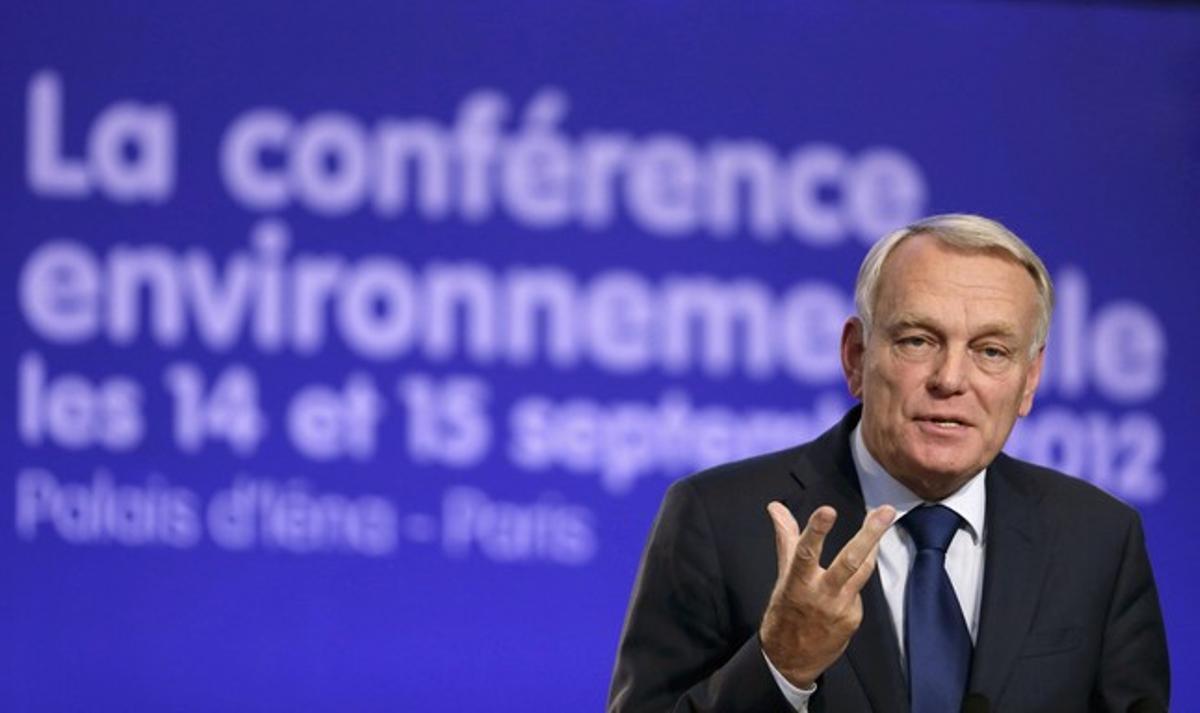 El primer ministro france's, Jean-Marc Ayrault, durante una conferencia, el pasado sábado en París.