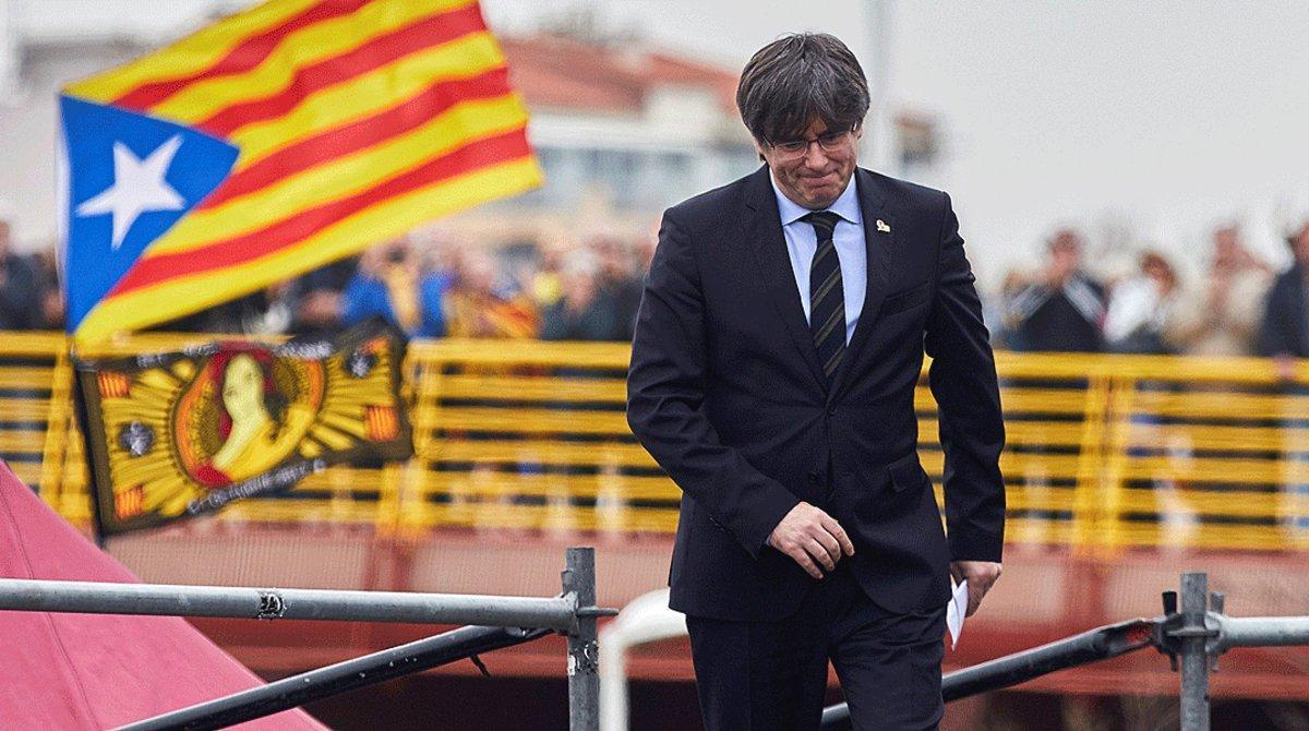 Puigdemont, en un mitin independentista en Perpinyà, el29 de febrero del 2020.