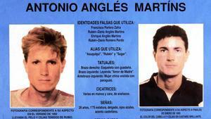 Cartel editado por el Ministerio del Interior en el que aparece Antonio Anglés.