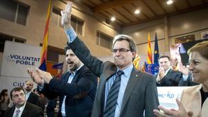 Artur Mas, en un mitin electoral de CiU en Reus en el 2012, junto a Albert Batet, entonces cabeza de lista de la coalición en Tarragona.