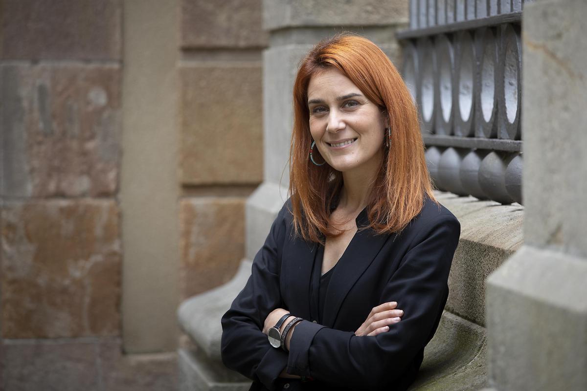 Jéssica Albiach, líder de En Comú Podem, en el Parlament de Catalunya.
