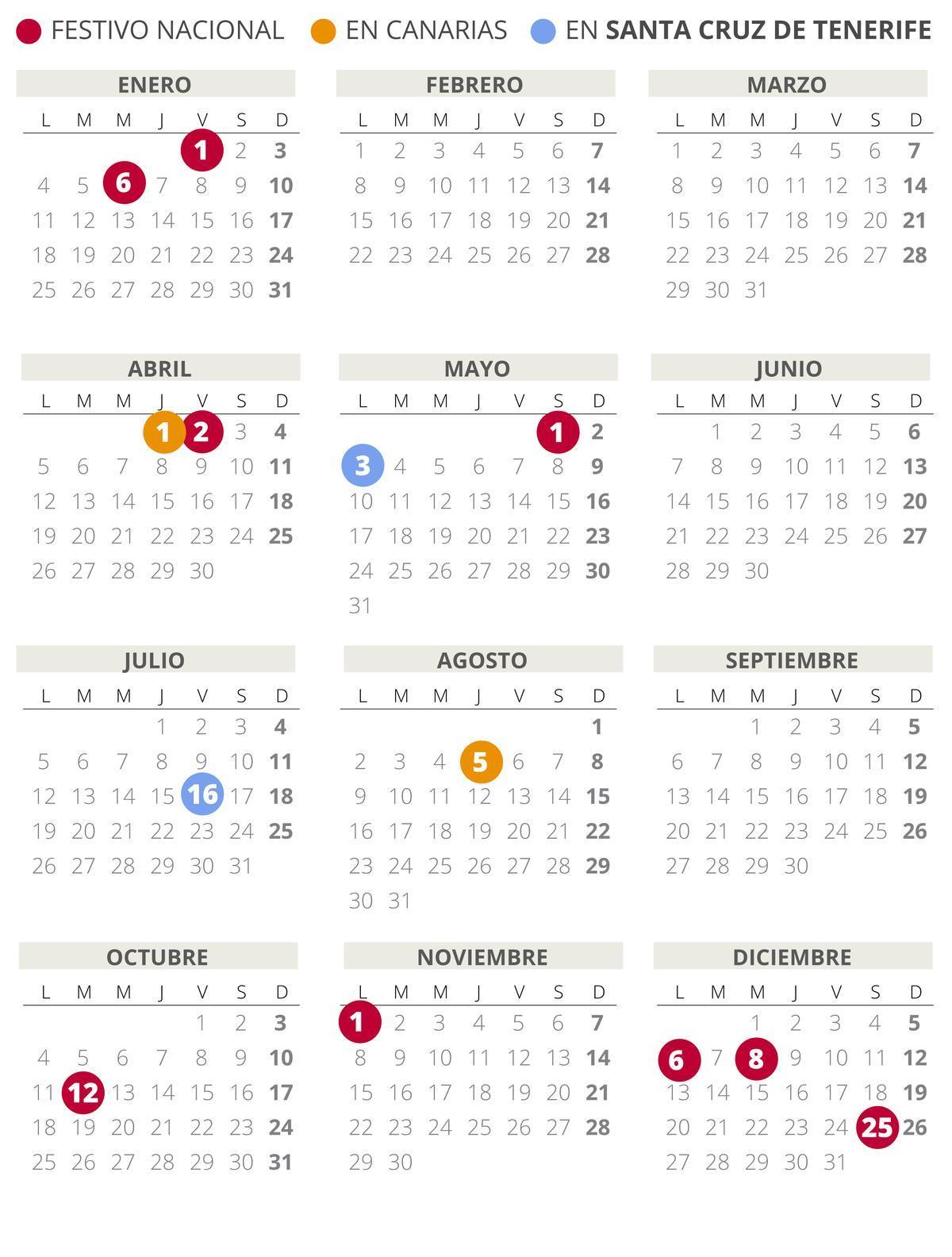 Calendario laboral de Santa Cruz de Tenerife 2021 (con todos los festivos)