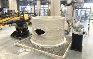 Preparación de una estructura impresa en 3D del equipo SEArch + / Apis Cor.