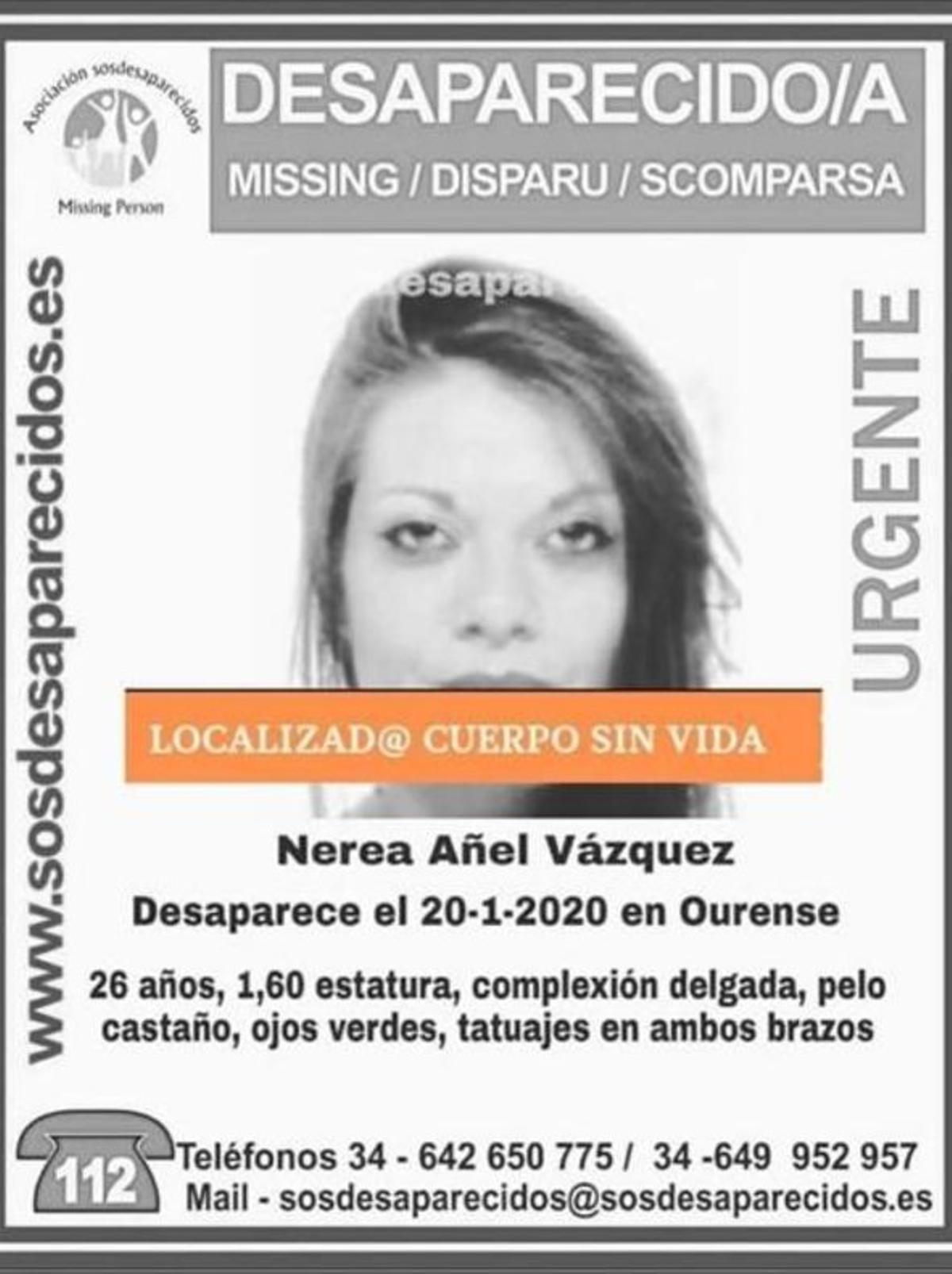 Alerta de Nerea Añel emitida por Sos Desaparecidos.