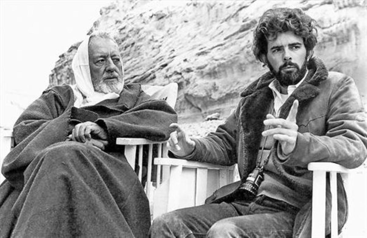 Alec Guinness y George Lucas, durante el rodaje de 'Star wars'.
