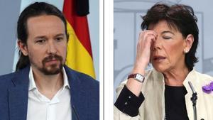 Combo del vicepresidente segundo, Pablo Iglesias, y la ministra de Educación,Isabel Celaá.