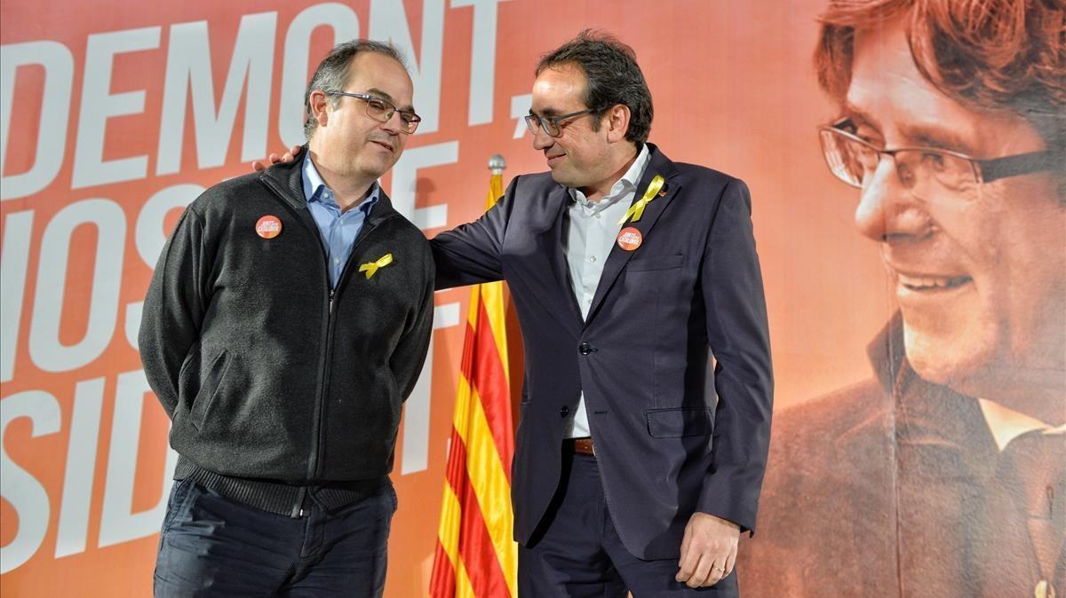 Jordi Turull y Josep Rull al inicio de la rueda de prensa.