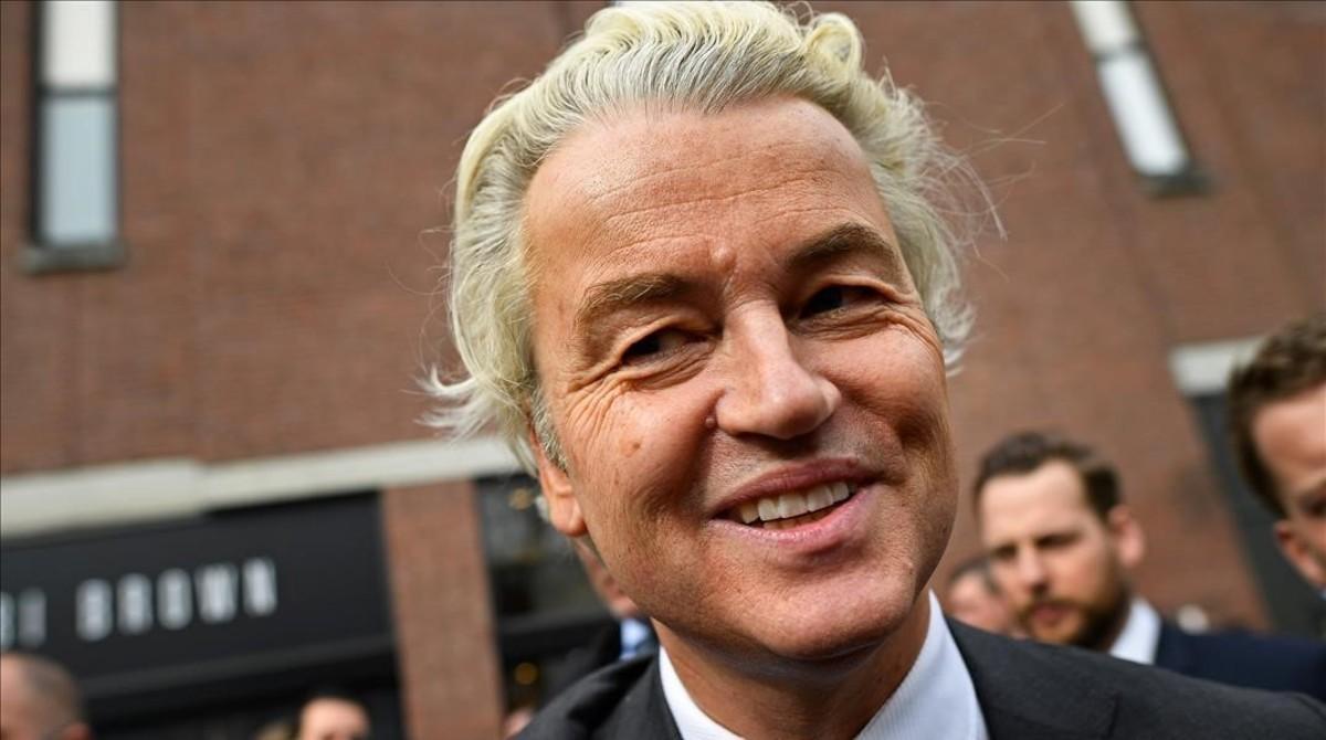 Geert wilders en un acto electoral esta semanaen la localidad de Heerlan