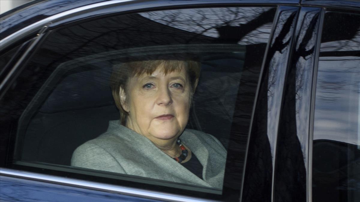 Angela Merkel, a su llegada a la sede del SPD para las negociaciones.