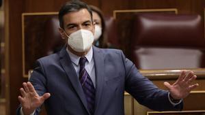Pedro Sánchez, en la sesión de control en el Congreso.