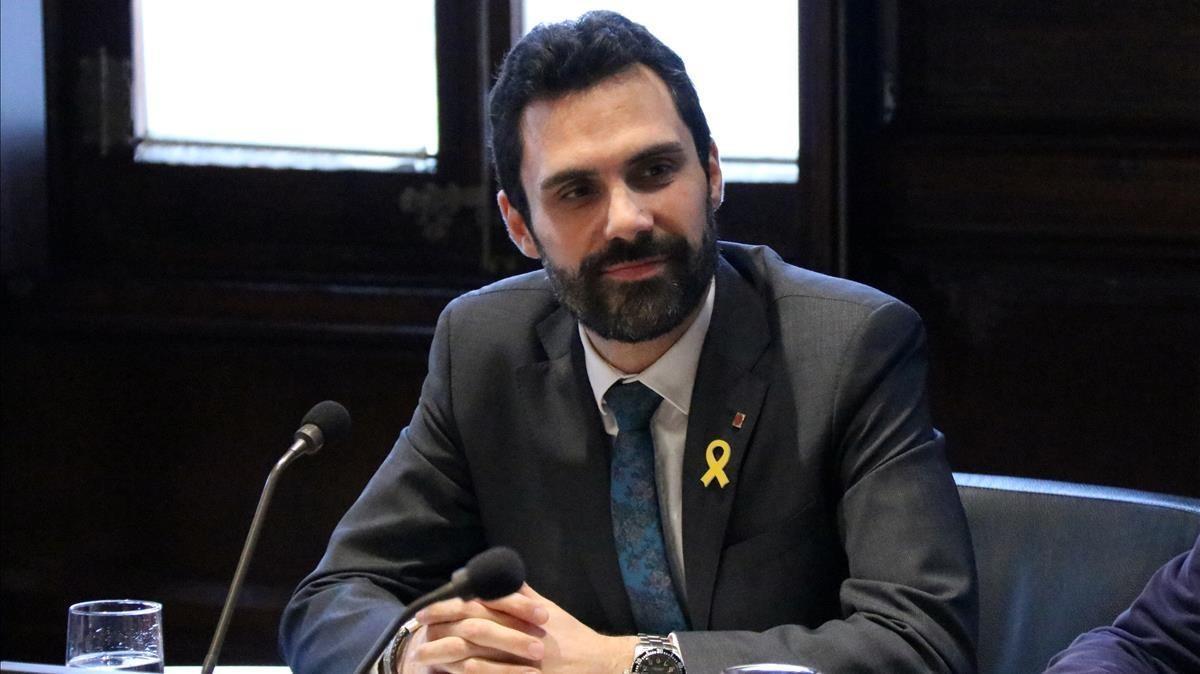 El presidente del Parlament, RogerTorrent, durante una reunión de la Mesa.
