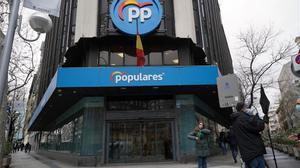 La sede del PP en la calle de Génova, en Madrid.