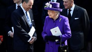 FILE PHOTO: David Armstrong-Jones speak to Britain's Queen Elizabeth and Prince Philip as they leave a Service of Thanksgiving for the life and work of Lord Snowdon at Westminster Abbey in London, Britain, April , 2017. REUTERS/Hannah McKay/File Photo