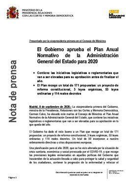 Esquema del plan anual normativodel Gobierno para 2020.