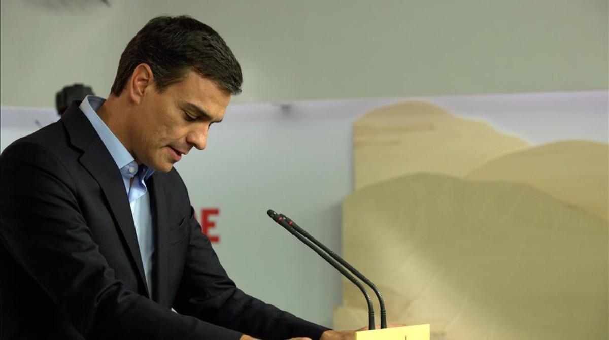 Pedro Sánchez, este lunes en la sede central del PSOE.