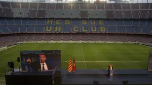 Laporta, durante el discurso de la toma de posesión en el Camp Nou.