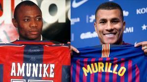 El nigeriano Amunike y el colombiano Murillo, en sus respectivas presentaciones como jugadores del Barça.
