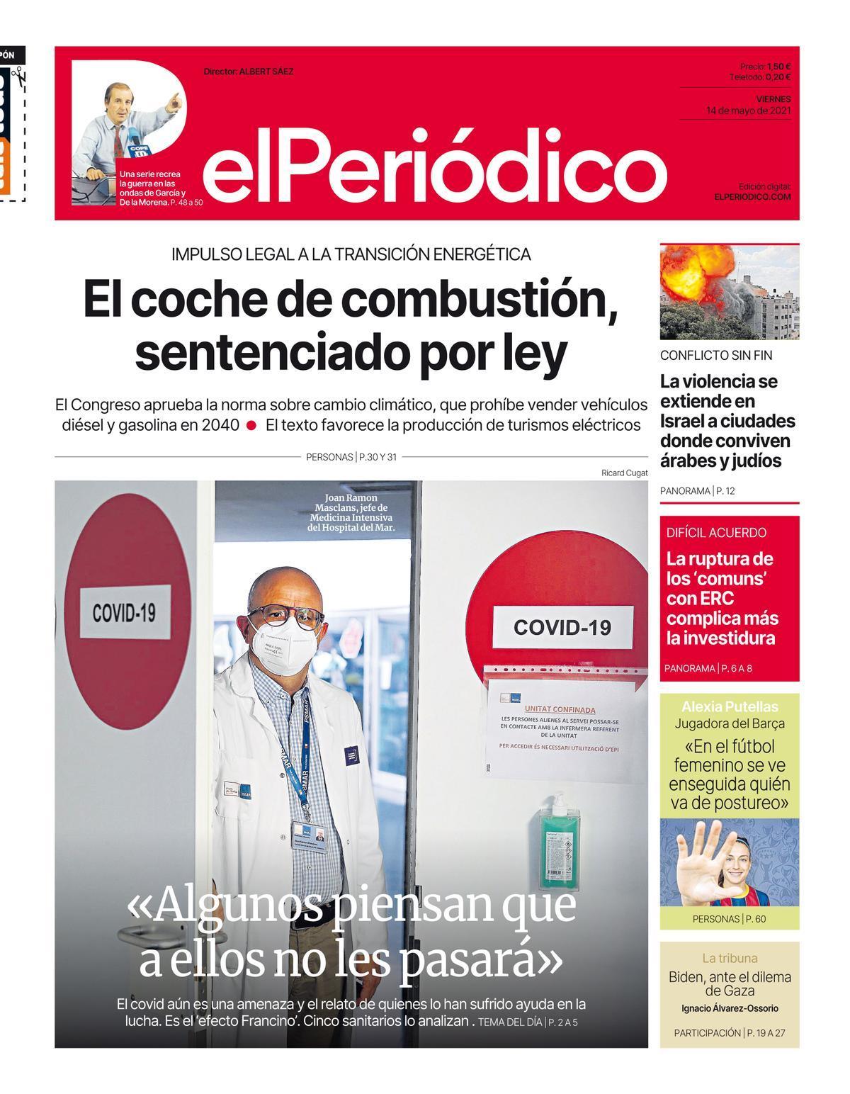 La portada de EL PERIÓDICO del 14 de mayo de 2021