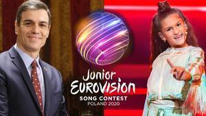 El presidente del Gobierno, Pedro Sánchez, y Soleá, representante de España en Eurovisión Junior 2020.