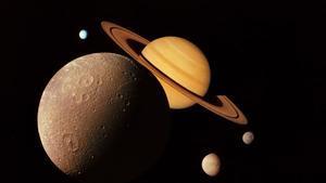 Montaje con imágenes de la sonda Voyager de Júpiter y Saturno