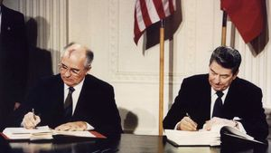 File photo of U.S. President Ronald Reagan (R) and Soviet President Mikhail Gorbachev signing the Intermediate-Range Nuclear Forces (INF) treaty at the White House, on December 8 1987. Reagan was elected as the 40th U.S. president in 1980. Former U.S. President Reagan's health is deteriorating and he could have only weeks to live, a U.S. source close to the situation said on June 4, 2004. Reagan, now 93, has long suffered from the brain-wasting Alzheimer's disease. The source said Reagan's condition had worsened in the past week. The time is getting close, he said.      REUTERS/Dennis Paquin/FILE