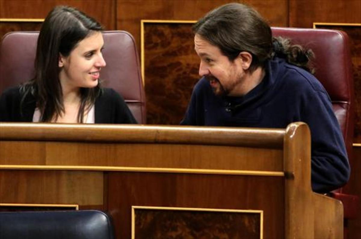 Irene Montero y Pablo Iglesias, en el Congreso de los Diputados, el pasado 13 de febrero.