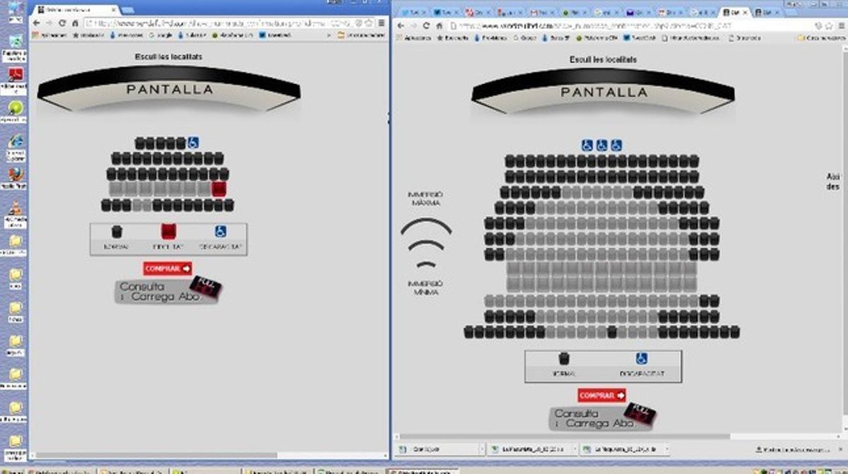 Las localidades disponibles para dos sesiones de 'Star Wars' en catalán (izquierda) y en castellano (derecha) en los multicines del centro comercial Splau.
