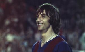 Johan Cruyff, en un partido con el Barça, en mayo de 1974.