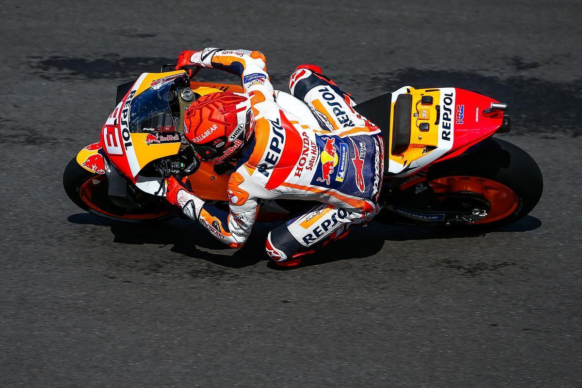 El catalán Marc Márquez (Honda), en su vuelta lanzada en la 'quali' de hoy en Portimao.