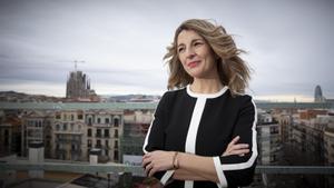 La ministra Yolanda Díaz, en Barcelona. Foto: Ferran Nadeu. Vídeo ZL