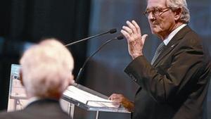 Xavier Trias, durante la conferencia que impartió en la Llotja en un acto organizado por la Cámara de Comercio.