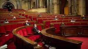 El vicepresidente de la Generalitat y coordinador nacional de ERC  Pere Aragones durante una sesion plenaria en el Parlament de Catalunya  en Barcelona  Catalunya  a 15 de diciembre de 2020  El Parlament comenzo ayer un pleno que durara hasta el proximo viernes y que sera el ultimo de esta legislatura antes de que la Camara se disuelva automaticamente el 21 de diciembre al no haber ningun candidato a la investidura  lo que supondra la convocatoria de elecciones para el 14 de febrero   15 DICIEMBRE 2020  David Zorrakino   Europa Press  15 12 2020