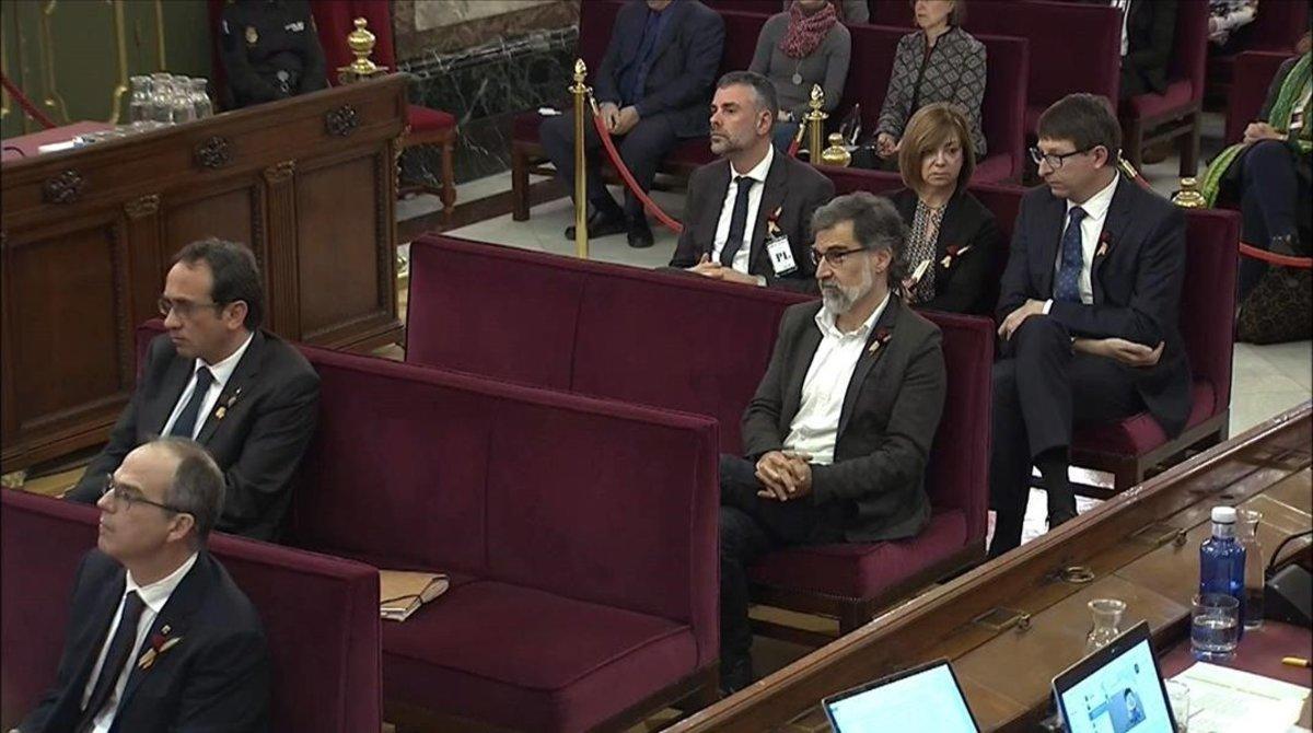 Imagen de los acusados en el juicio que se sigue en el Tribunal Supremo.