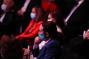 El vicepresidente segundo, Pablo Iglesias, durante la conferencia 'España puede' pronunciada por Pedro Sánchez, este 31 de agosto en la Casa de América de Madrid.