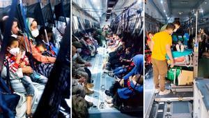 Combo con tres imágenes de la evacuación de civiles afganos, por parte del ejército español.
