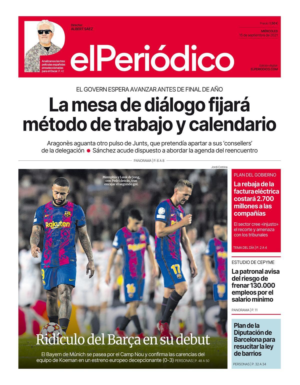 La portada de EL PERIÓDICO del 15 de septiembre del 2021