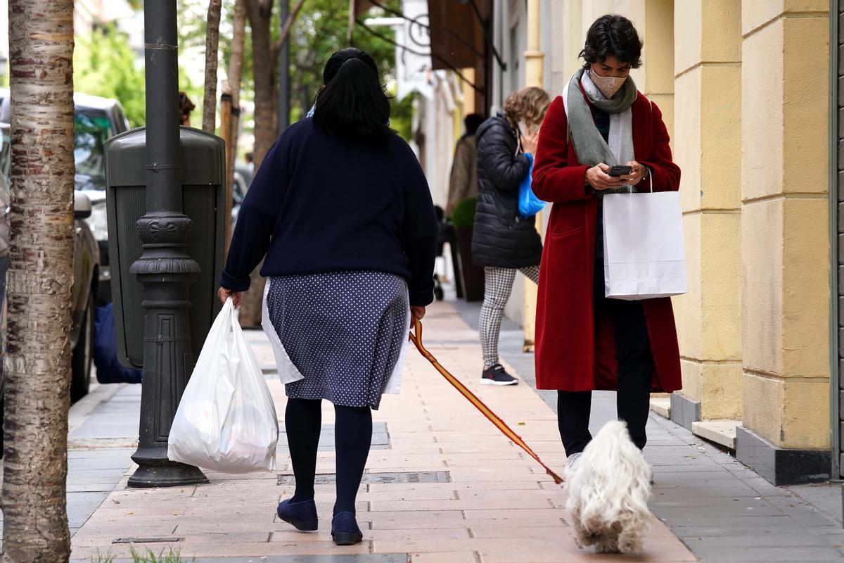 Ambiente en la calle Nuñez de Balboa. Una empleada de hogar pasea a la mascota familiar, atada con una correa de los colores de la bandera de España.