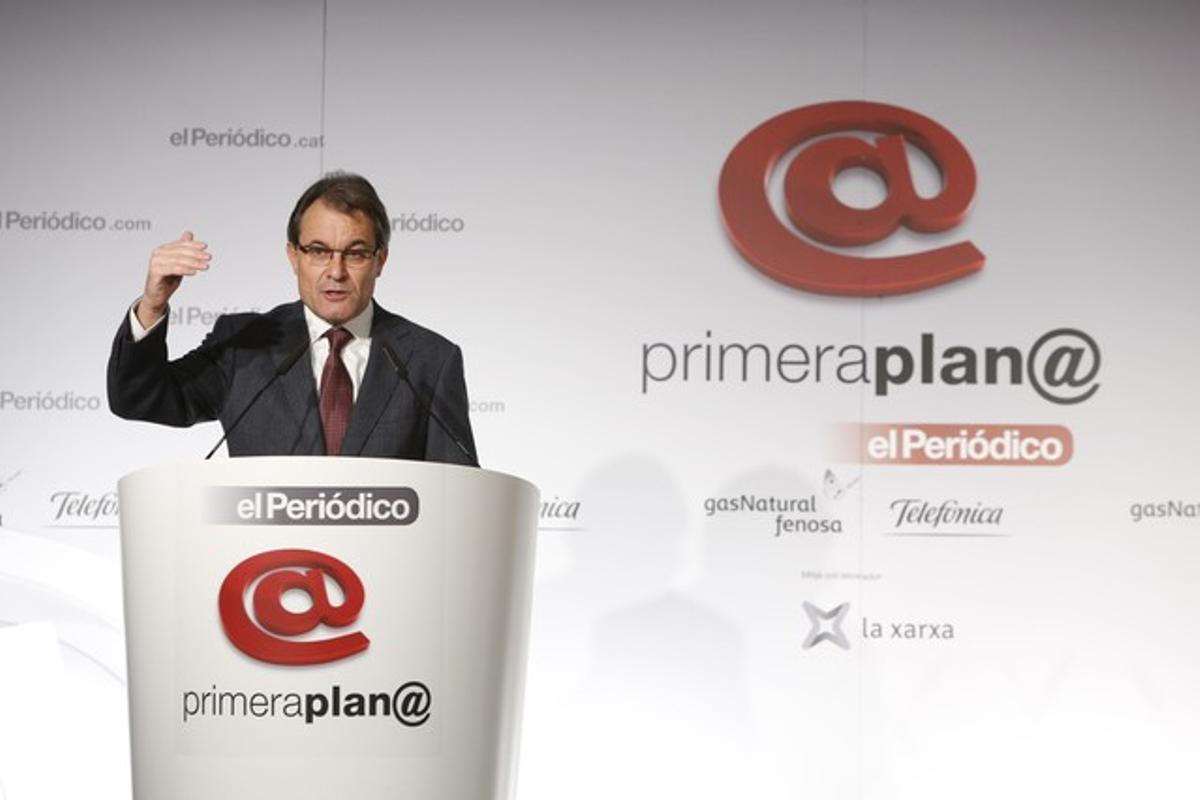 Artur Mas, durante su intervención en el foro Primera Plan@.
