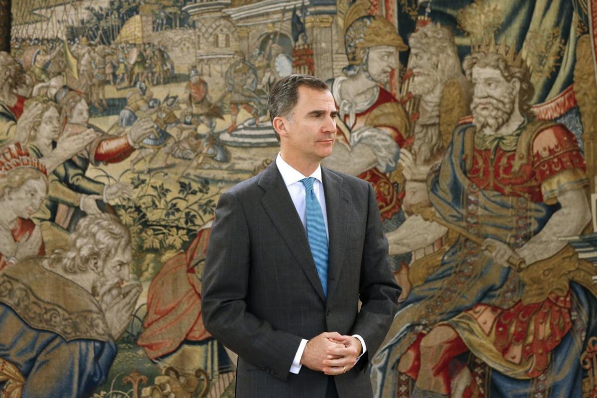 El Rey, en el palacio de la Zarzuela, donde tiene lugar la ronda de contactos con los partidos para la investidura.