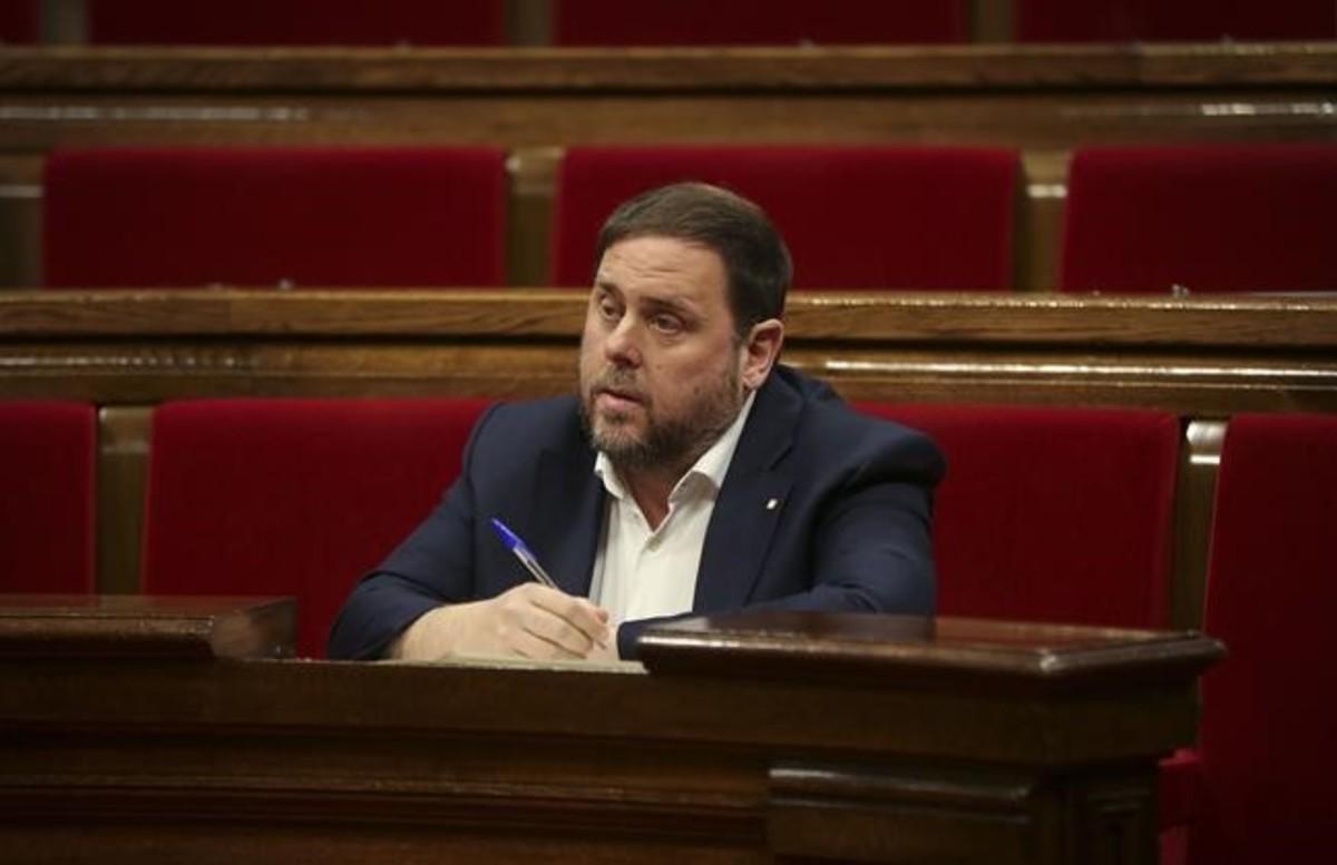 Oriol Junqueras en el Parlament.