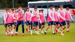 La selección de Luis Enrique, en el último entrenamiento antes de la final contra Italia.
