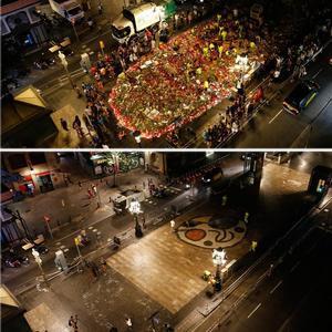 Dos imágenes de la Rambla; la de arribamuestra el mosaico de Miró lleno deofrendas el lunes por la noche y la de abajo, la misma zona en la madrugada del martes.