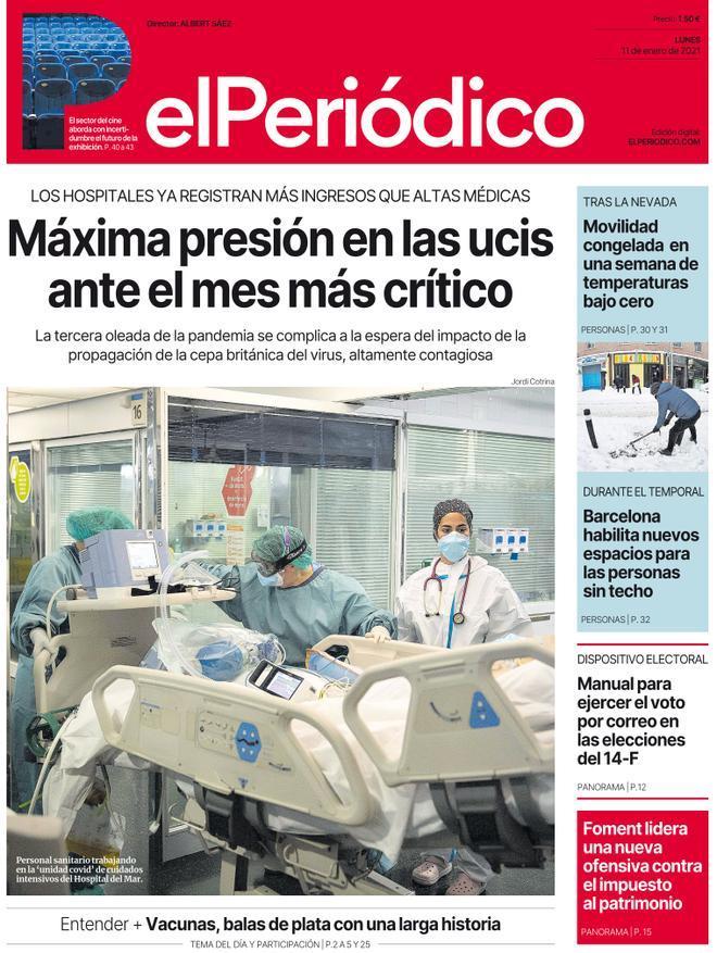La portada de EL PERIÓDICO del 11 de enero de 2021
