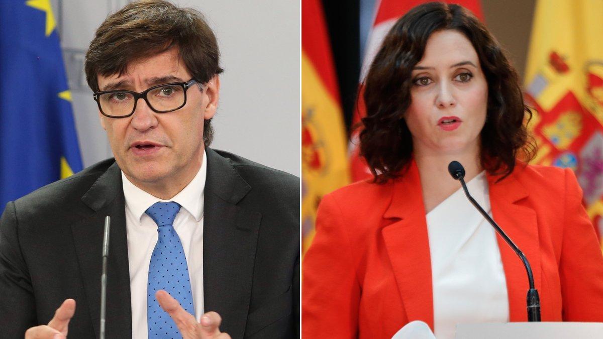 El ministro de Sanidad, Salvador Illa, y la presidenta de la Comunidad de Madrid,Isabel Díaz Ayuso.