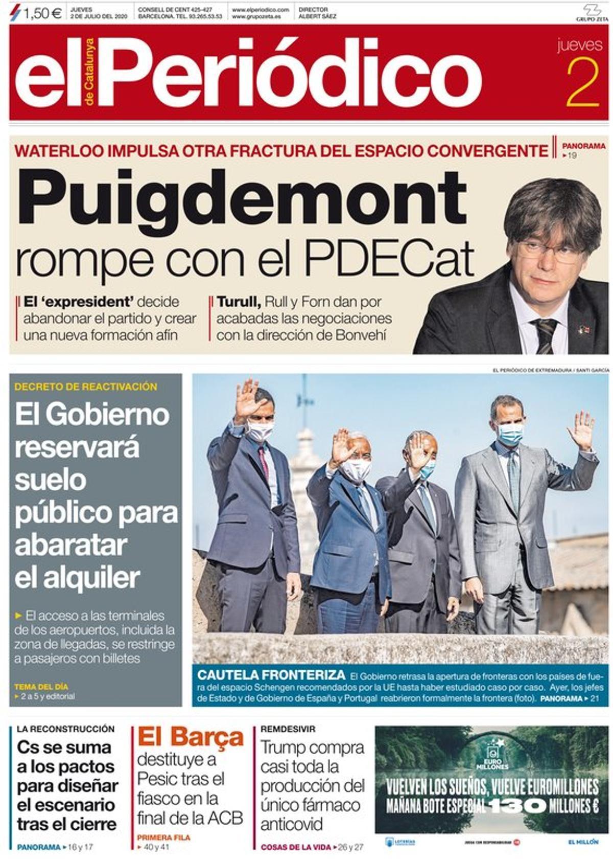 La portada de EL PERIÓDICO del 2 de julio del 2020